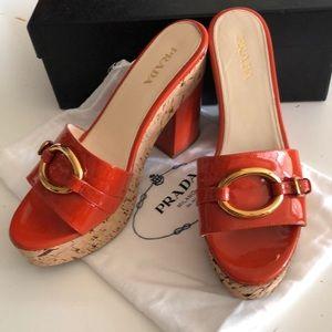 Prada Orange Patent Leather sz41 Cork Platforms